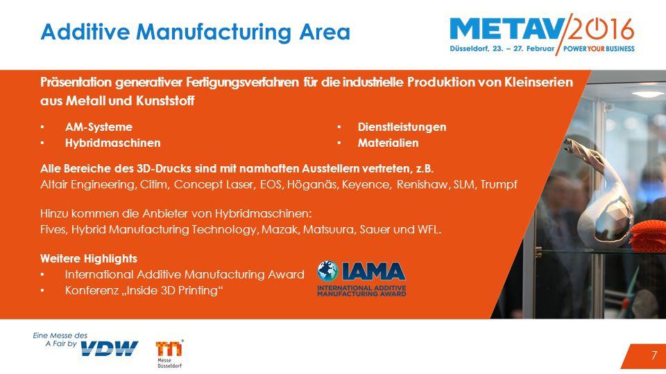 7 Additive Manufacturing Area Präsentation generativer Fertigungsverfahren für die industrielle Produktion von Kleinserien aus Metall und Kunststoff A