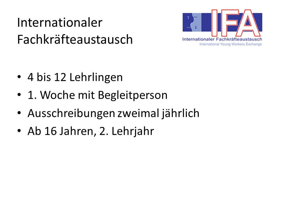 Internationaler Fachkräfteaustausch 4 bis 12 Lehrlingen 1.