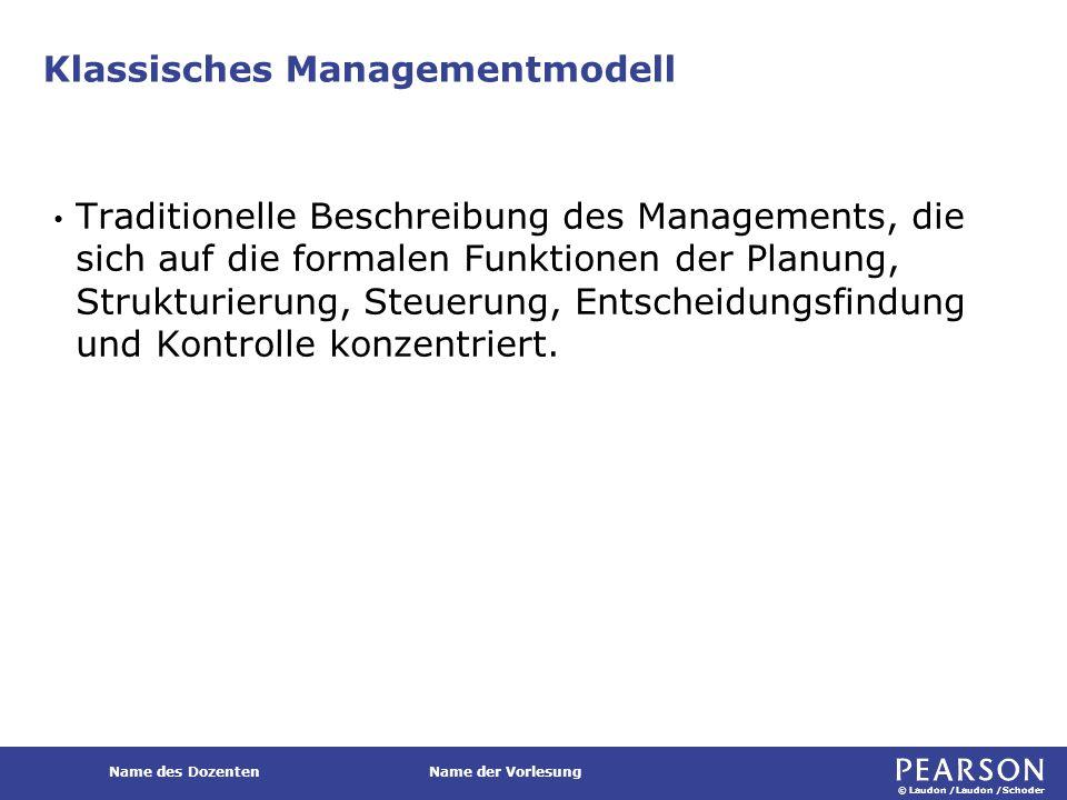 © Laudon /Laudon /Schoder Name des DozentenName der Vorlesung Klassisches Managementmodell Traditionelle Beschreibung des Managements, die sich auf di