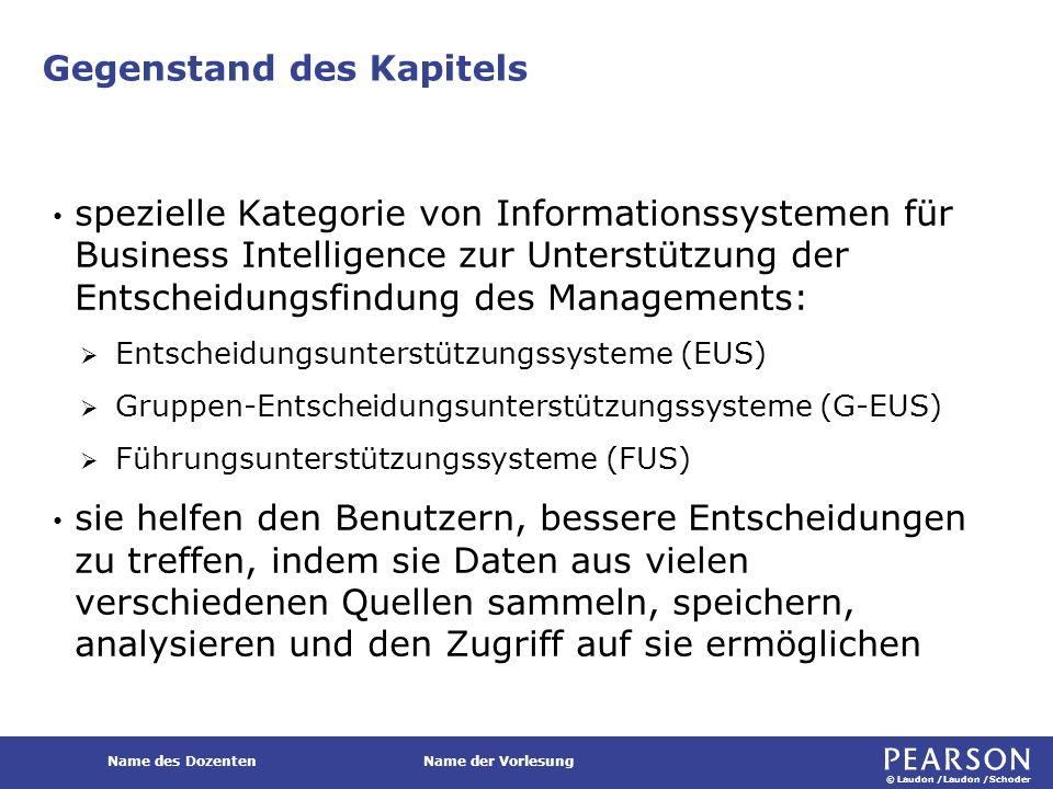 © Laudon /Laudon /Schoder Name des DozentenName der Vorlesung Entscheidungsunterstützungssysteme (EUS) Typische Komponenten umfassen:  Dialogmanagement  Datenbanken  Modellbanken  Methodenbanken Komponenten eines EUS