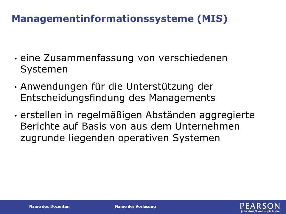 © Laudon /Laudon /Schoder Name des DozentenName der Vorlesung Managementinformationssysteme (MIS) eine Zusammenfassung von verschiedenen Systemen Anwe