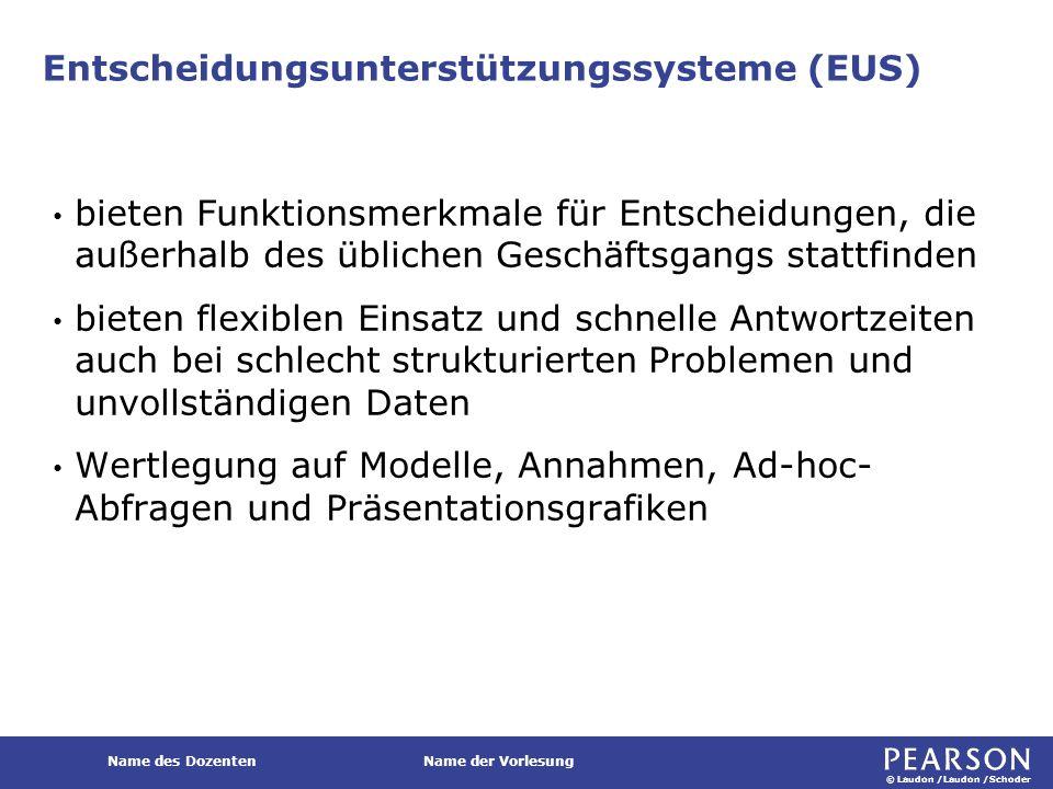 © Laudon /Laudon /Schoder Name des DozentenName der Vorlesung Entscheidungsunterstützungssysteme (EUS) bieten Funktionsmerkmale für Entscheidungen, di