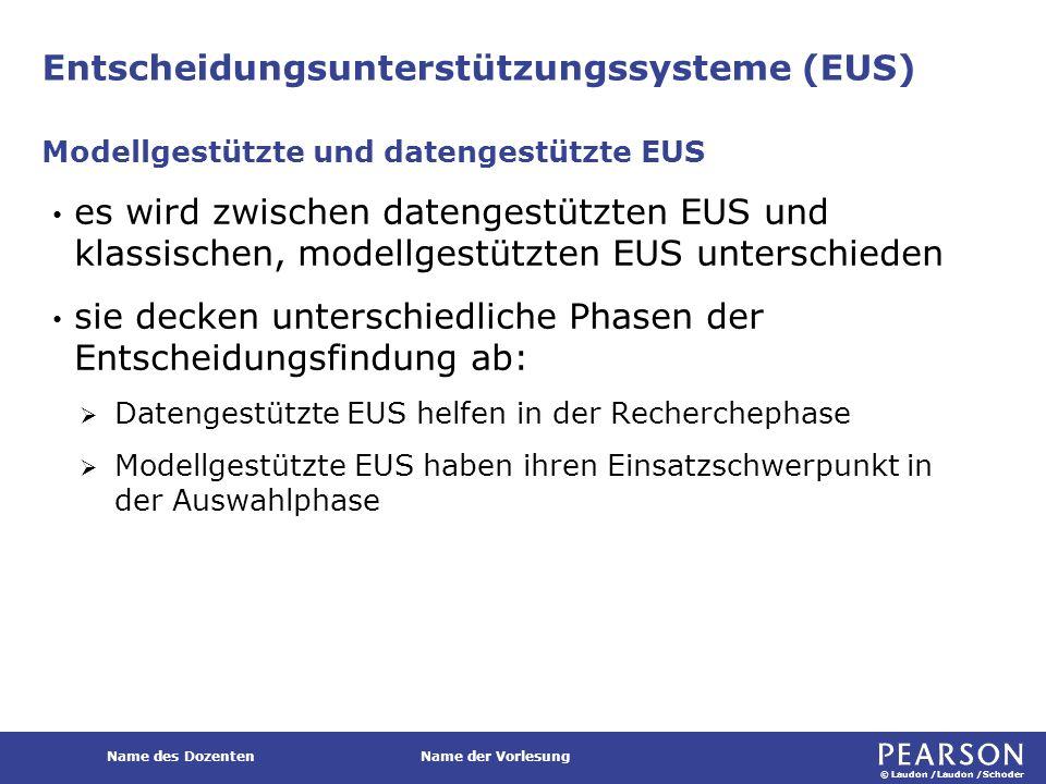 © Laudon /Laudon /Schoder Name des DozentenName der Vorlesung Entscheidungsunterstützungssysteme (EUS) es wird zwischen datengestützten EUS und klassi