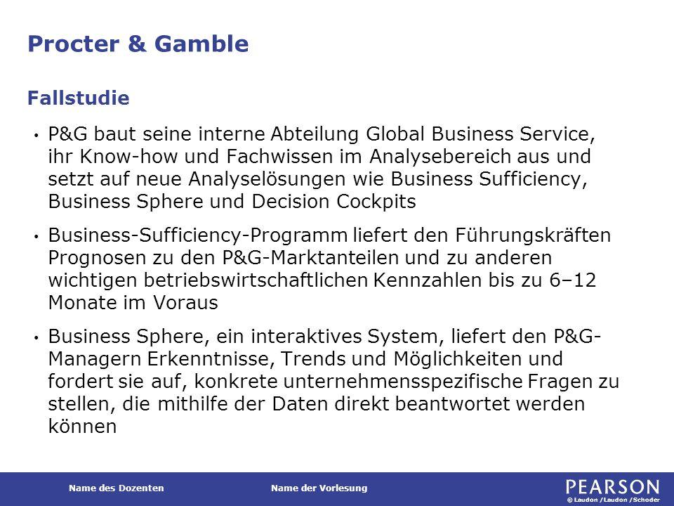 © Laudon /Laudon /Schoder Name des DozentenName der Vorlesung Procter & Gamble P&G baut seine interne Abteilung Global Business Service, ihr Know-how