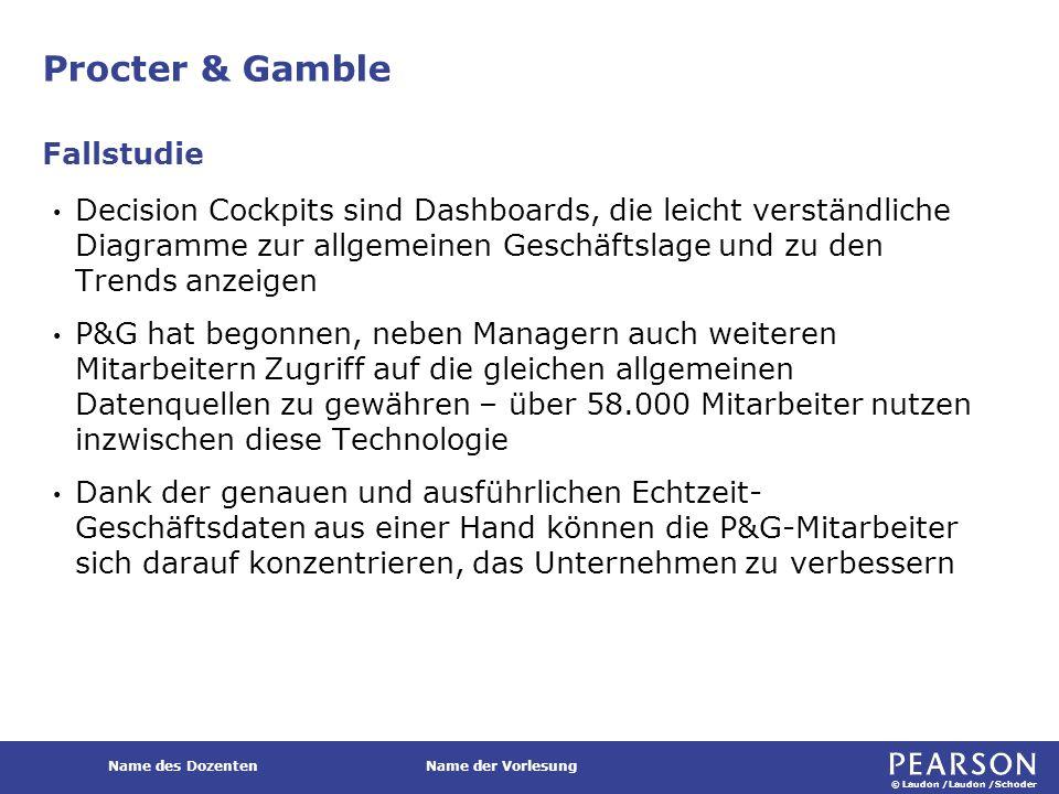 © Laudon /Laudon /Schoder Name des DozentenName der Vorlesung Procter & Gamble Decision Cockpits sind Dashboards, die leicht verständliche Diagramme z