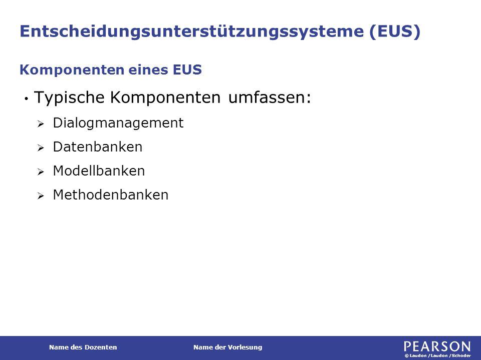 © Laudon /Laudon /Schoder Name des DozentenName der Vorlesung Entscheidungsunterstützungssysteme (EUS) Typische Komponenten umfassen:  Dialogmanageme