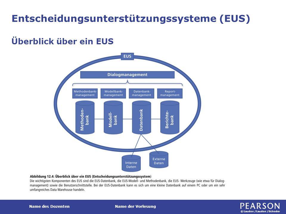 © Laudon /Laudon /Schoder Name des DozentenName der Vorlesung Entscheidungsunterstützungssysteme (EUS) Überblick über ein EUS