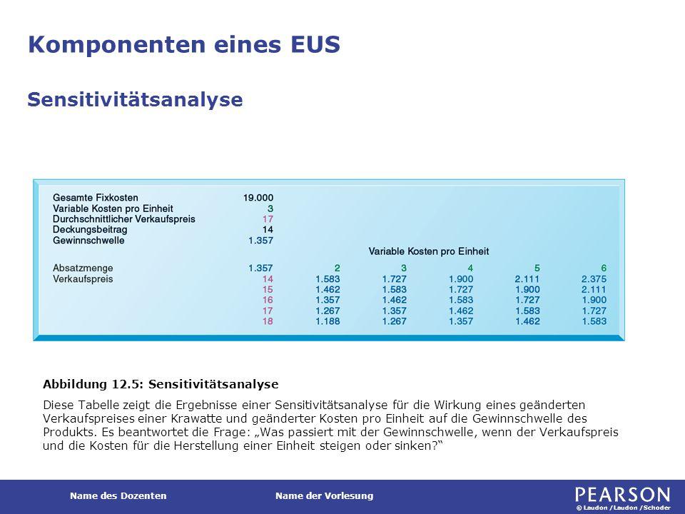 © Laudon /Laudon /Schoder Name des DozentenName der Vorlesung Komponenten eines EUS Sensitivitätsanalyse Abbildung 12.5: Sensitivitätsanalyse Diese Ta