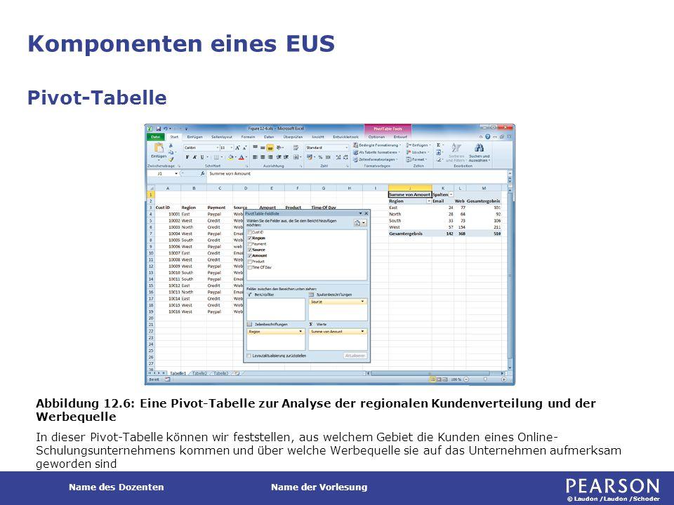 © Laudon /Laudon /Schoder Name des DozentenName der Vorlesung Komponenten eines EUS Pivot-Tabelle Abbildung 12.6: Eine Pivot-Tabelle zur Analyse der r