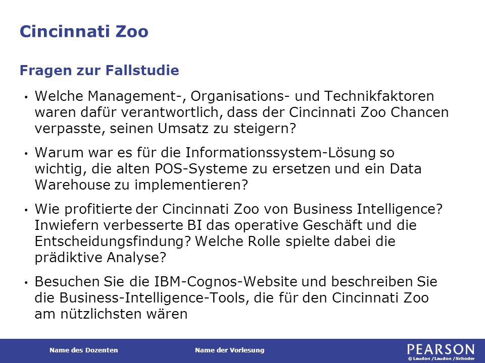 © Laudon /Laudon /Schoder Name des DozentenName der Vorlesung Cincinnati Zoo Welche Management-, Organisations- und Technikfaktoren waren dafür verant