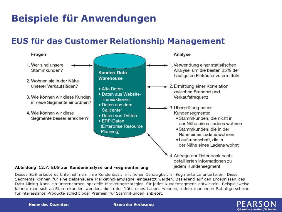 © Laudon /Laudon /Schoder Name des DozentenName der Vorlesung Beispiele für Anwendungen EUS für das Customer Relationship Management Abbildung 12.7: E