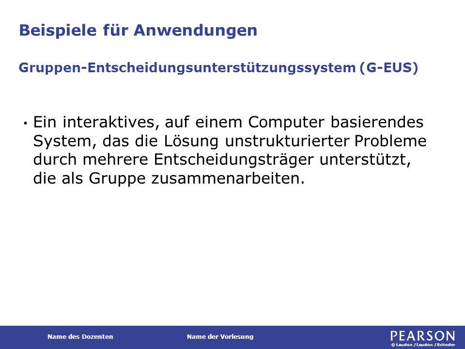 © Laudon /Laudon /Schoder Name des DozentenName der Vorlesung Beispiele für Anwendungen Ein interaktives, auf einem Computer basierendes System, das d