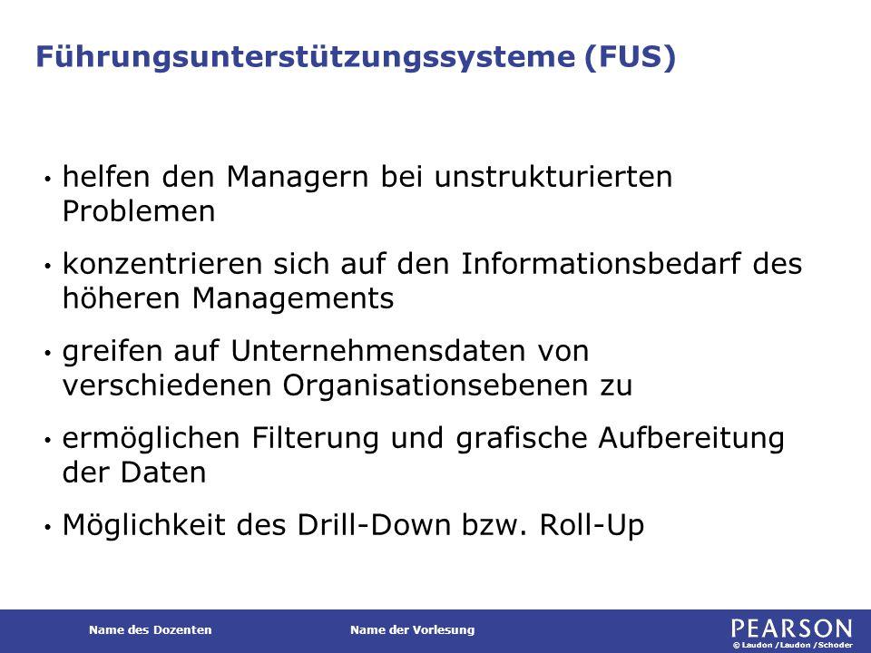 © Laudon /Laudon /Schoder Name des DozentenName der Vorlesung Führungsunterstützungssysteme (FUS) helfen den Managern bei unstrukturierten Problemen k