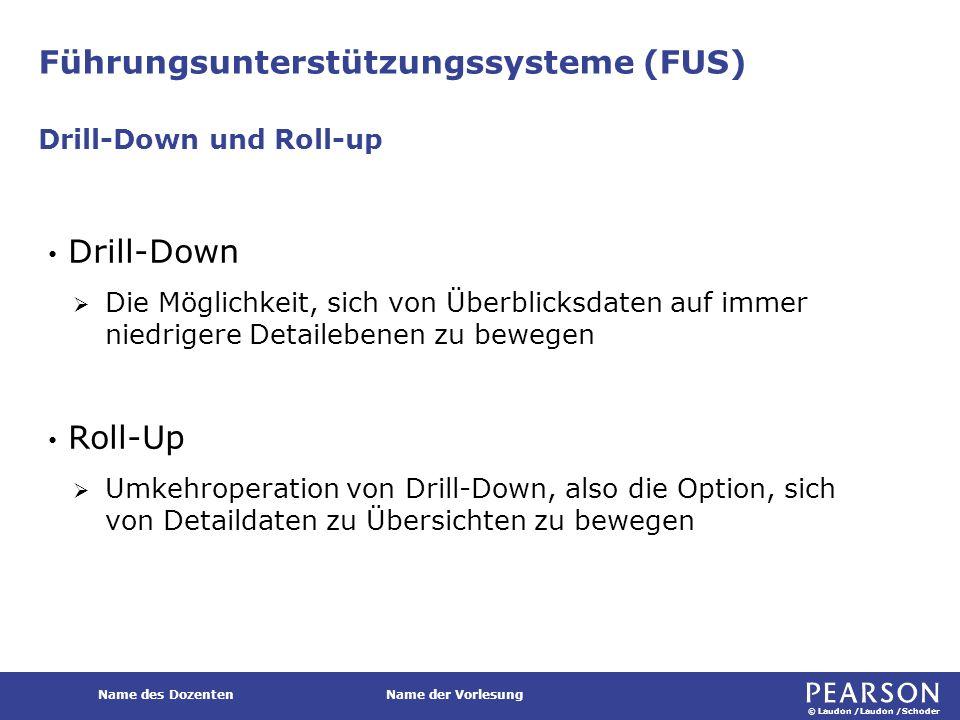© Laudon /Laudon /Schoder Name des DozentenName der Vorlesung Führungsunterstützungssysteme (FUS) Drill-Down  Die Möglichkeit, sich von Überblicksdat