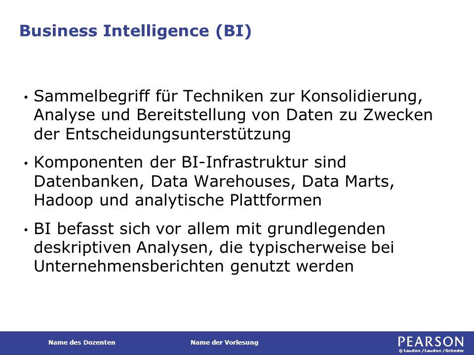 © Laudon /Laudon /Schoder Name des DozentenName der Vorlesung Business Intelligence (BI) Sammelbegriff für Techniken zur Konsolidierung, Analyse und B