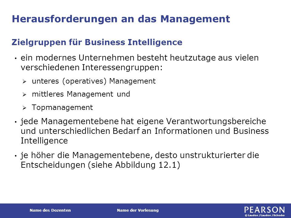 © Laudon /Laudon /Schoder Name des DozentenName der Vorlesung Herausforderungen an das Management ein modernes Unternehmen besteht heutzutage aus viel