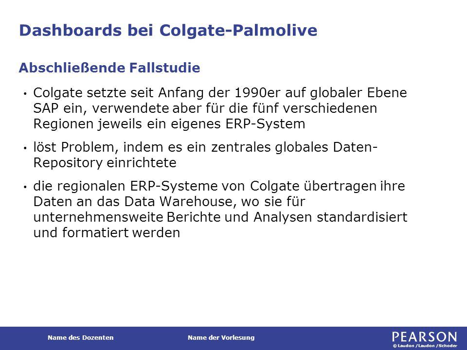 © Laudon /Laudon /Schoder Name des DozentenName der Vorlesung Dashboards bei Colgate-Palmolive Colgate setzte seit Anfang der 1990er auf globaler Eben