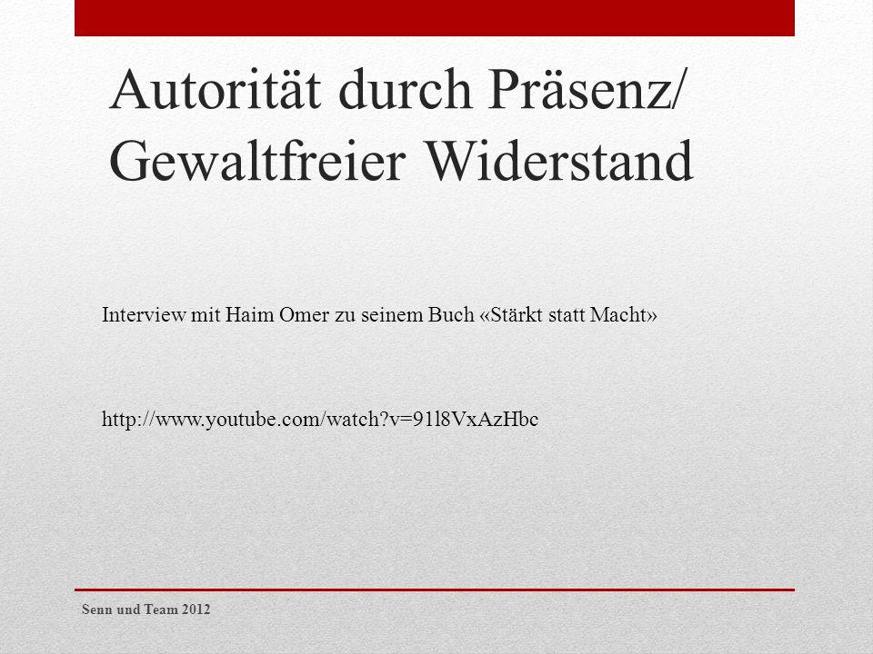 Autorität durch Präsenz/ Gewaltfreier Widerstand Interview mit Haim Omer zu seinem Buch «Stärkt statt Macht» http://www.youtube.com/watch?v=91l8VxAzHb
