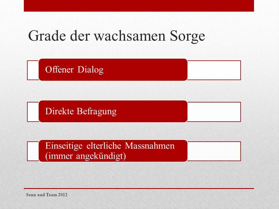 Grade der wachsamen Sorge Offener DialogDirekte Befragung Einseitige elterliche Massnahmen (immer angekündigt) Senn und Team 2012