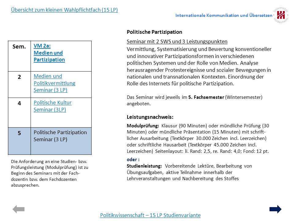 Politikwissenschaft – 15 LP Studienvariante Politische Partizipation Seminar mit 2 SWS und 3 Leistungspunkten Vermittlung, Systematisierung und Bewertung konventioneller und innovativer Partizipationsformen in verschiedenen politischen Systemen und der Rolle von Medien.
