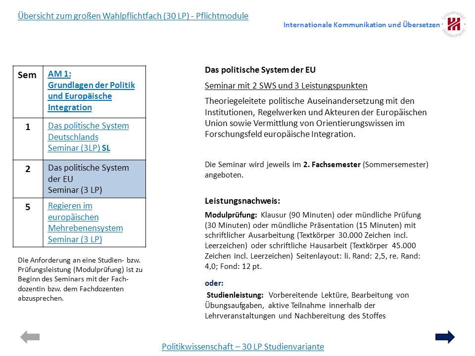 Sem AM 1: Grundlagen der Politik und Europäische Integration 1 Das politische System Deutschlands Seminar (3LP) SL 2 Das politische System der EU Seminar (3 LP) 5 Regieren im europäischen Mehrebenensystem Seminar (3 LP) Politikwissenschaft – 30 LP Studienvariante Übersicht zum großen Wahlpflichtfach (30 LP) - Pflichtmodule Das politische System der EU Seminar mit 2 SWS und 3 Leistungspunkten Theoriegeleitete politische Auseinandersetzung mit den Institutionen, Regelwerken und Akteuren der Europäischen Union sowie Vermittlung von Orientierungswissen im Forschungsfeld europäische Integration.