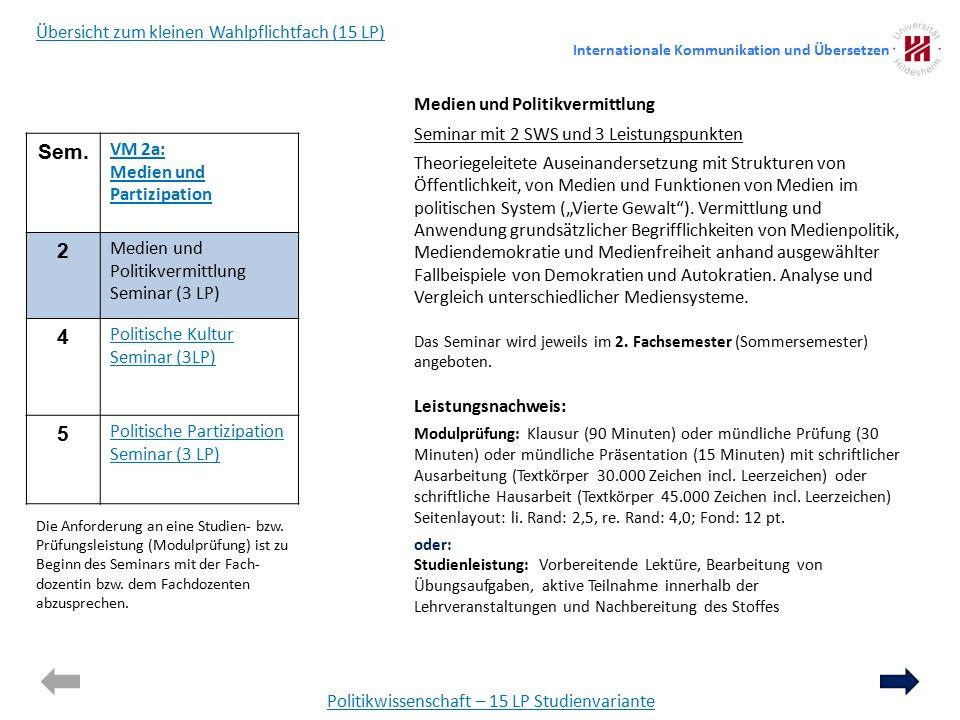 """Politikwissenschaft – 15 LP Studienvariante Medien und Politikvermittlung Seminar mit 2 SWS und 3 Leistungspunkten Theoriegeleitete Auseinandersetzung mit Strukturen von Öffentlichkeit, von Medien und Funktionen von Medien im politischen System (""""Vierte Gewalt )."""