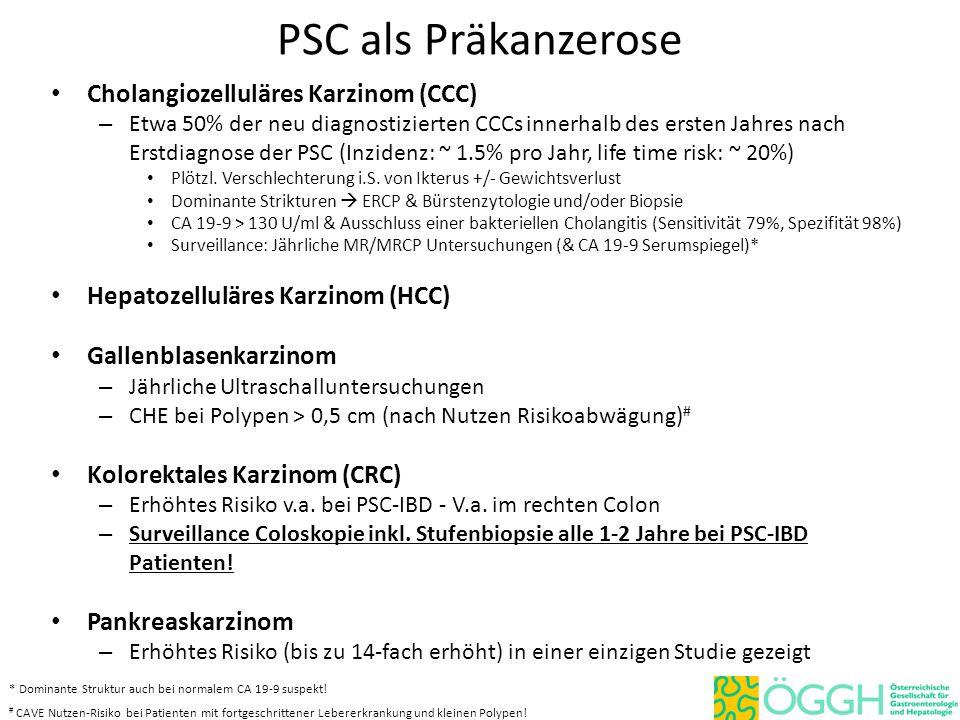 PSC als Präkanzerose Cholangiozelluläres Karzinom (CCC) – Etwa 50% der neu diagnostizierten CCCs innerhalb des ersten Jahres nach Erstdiagnose der PSC