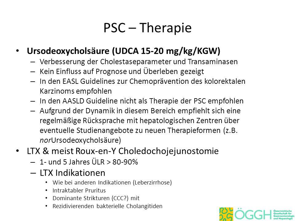 PSC – Therapie Ursodeoxycholsäure (UDCA 15-20 mg/kg/KGW) – Verbesserung der Cholestaseparameter und Transaminasen – Kein Einfluss auf Prognose und Übe