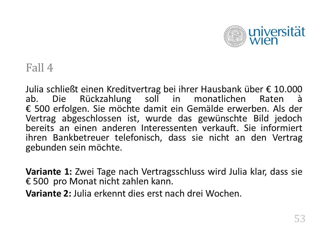 53 Fall 4 Julia schließt einen Kreditvertrag bei ihrer Hausbank über € 10.000 ab.