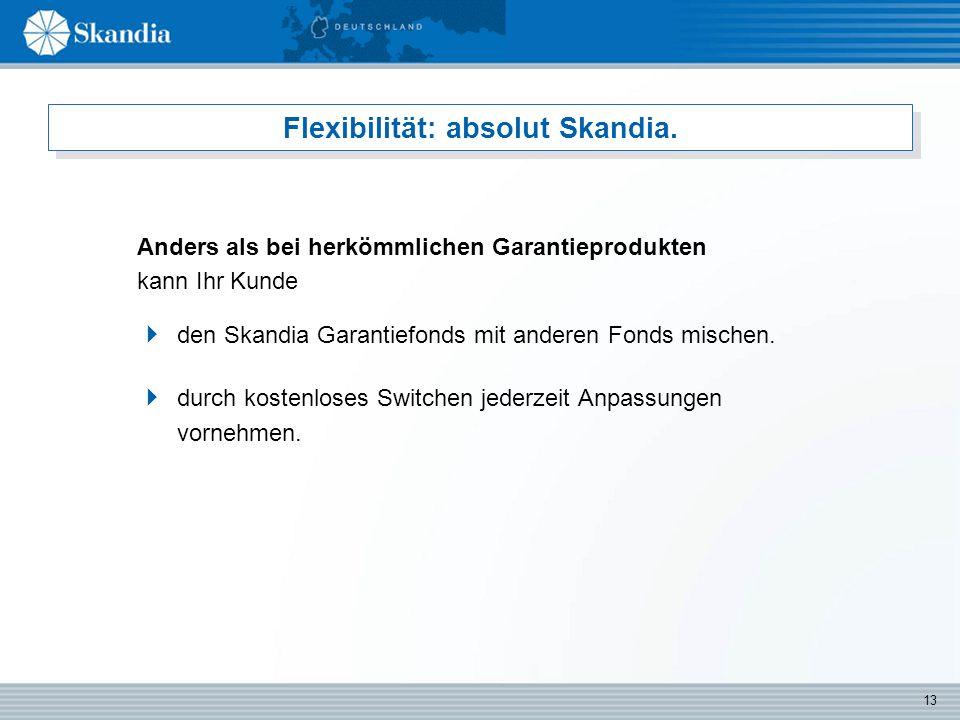 13 Flexibilität: absolut Skandia.  den Skandia Garantiefonds mit anderen Fonds mischen.