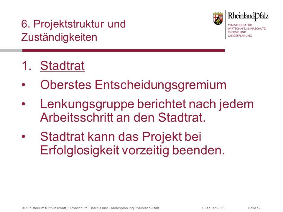 Folie 173. Januar 2016© Ministerium für Wirtschaft, Klimaschutz, Energie und Landesplanung Rheinland-Pfalz 6. Projektstruktur und Zuständigkeiten 1.St