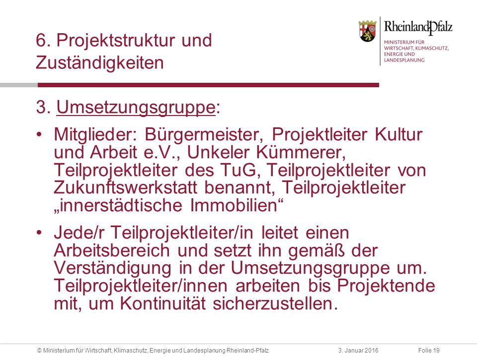 Folie 193. Januar 2016© Ministerium für Wirtschaft, Klimaschutz, Energie und Landesplanung Rheinland-Pfalz 6. Projektstruktur und Zuständigkeiten 3. U