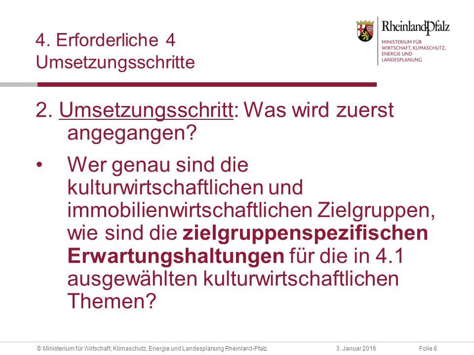 Folie 83. Januar 2016© Ministerium für Wirtschaft, Klimaschutz, Energie und Landesplanung Rheinland-Pfalz 4. Erforderliche 4 Umsetzungsschritte 2. Ums