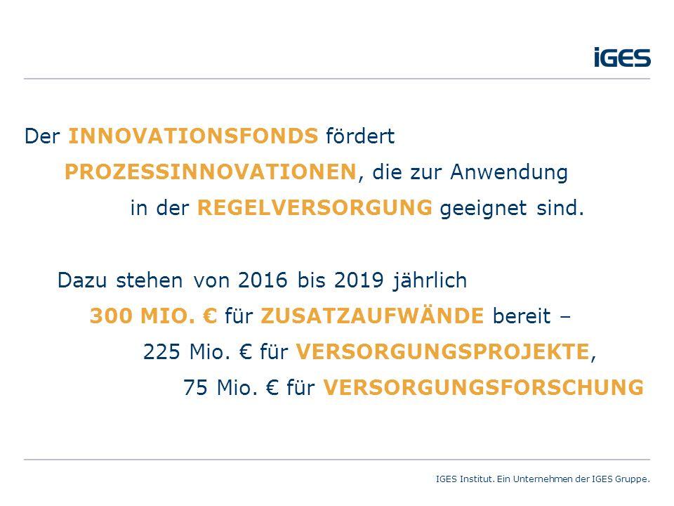 02.11.2015Innovationsfonds – neue Impulse für die sektorübergreifende Versorgung?Seite 2 IGES Institut.