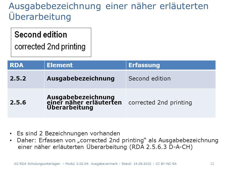 Ausgabebezeichnung einer näher erläuterten Überarbeitung AG RDA Schulungsunterlagen – Modul 3.02.04: Ausgabevermerk   Stand: 14.09.2015   CC BY-NC-SA