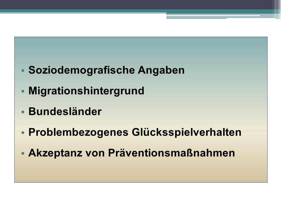 Glücksspielprobleme (DSM-IV) in der Spielerschaft nach Bundesland J.Kalke, F.M.Wurst et al. 2015