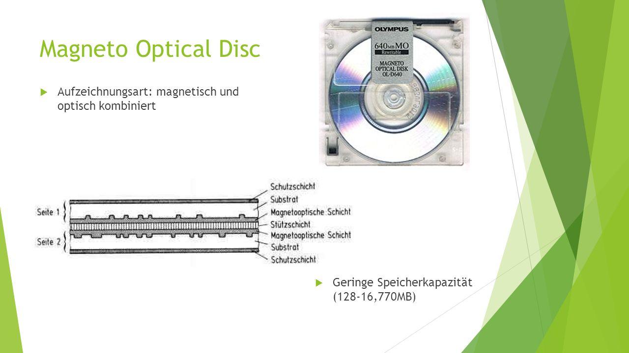Magneto Optical Disc  Aufzeichnungsart: magnetisch und optisch kombiniert  Geringe Speicherkapazität (128-16,770MB)