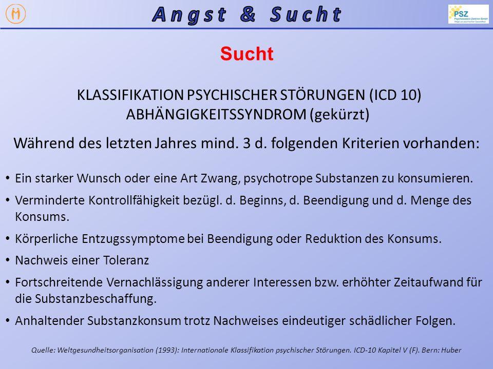 Sucht Als wesentliches Charakteristikum des Abhängigkeitssyndrom gilt ein aktueller Konsum oder ein starker Wunsch nach der psychotropen Substanz Das Suchtmittel nimmt eine dauerhafte Funktion im emotionalen bzw.
