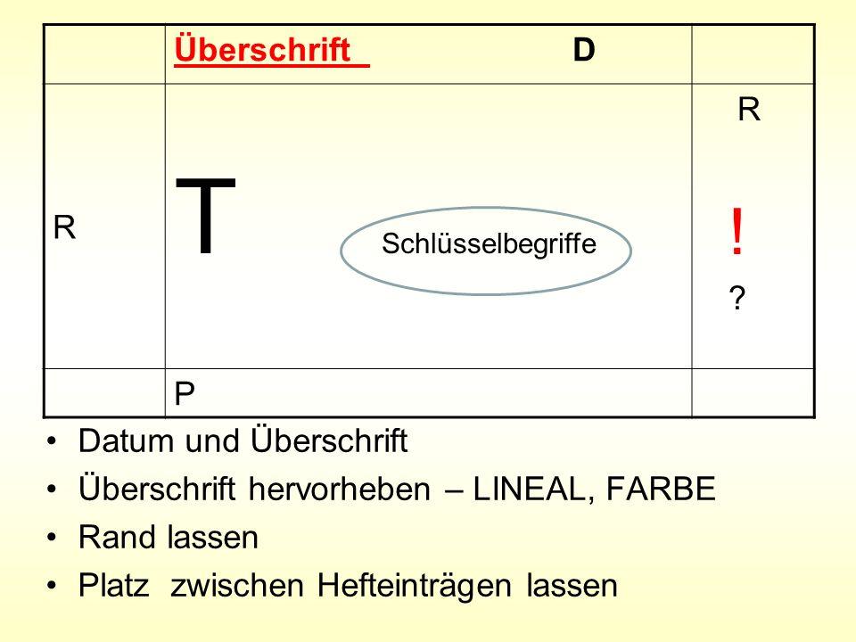Datum und Überschrift Überschrift hervorheben – LINEAL, FARBE Rand lassen Platz zwischen Hefteinträgen lassen Überschrift D R T Schlüsselbegriffe R !