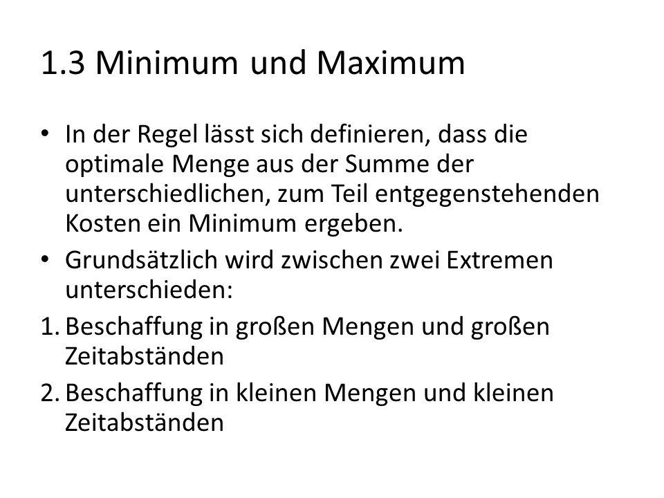 1.3 Minimum und Maximum In der Regel lässt sich definieren, dass die optimale Menge aus der Summe der unterschiedlichen, zum Teil entgegenstehenden Kosten ein Minimum ergeben.