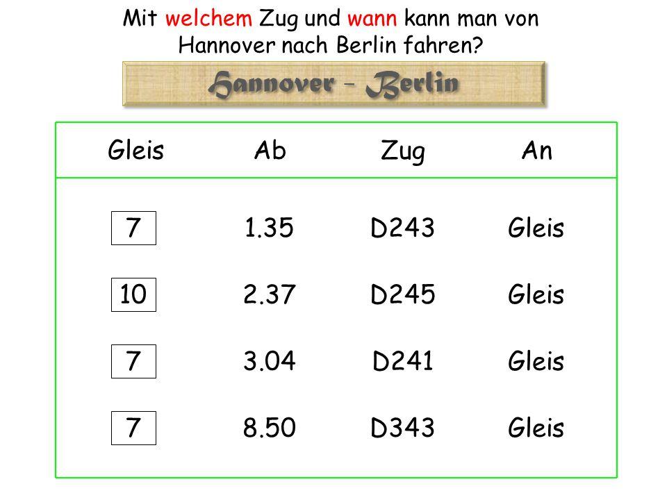 Mit welchem Zug und wann kann man von Hannover nach Berlin fahren.