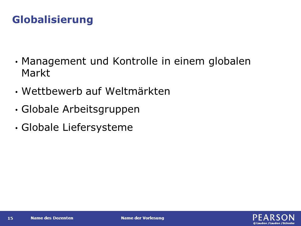 © Laudon /Laudon /Schoder Name des DozentenName der Vorlesung Globalisierung 15 Management und Kontrolle in einem globalen Markt Wettbewerb auf Weltmärkten Globale Arbeitsgruppen Globale Liefersysteme