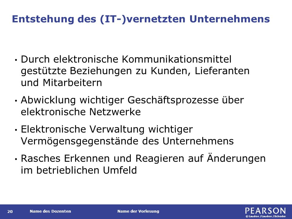© Laudon /Laudon /Schoder Name des DozentenName der Vorlesung Entstehung des (IT-)vernetzten Unternehmens 20 Durch elektronische Kommunikationsmittel