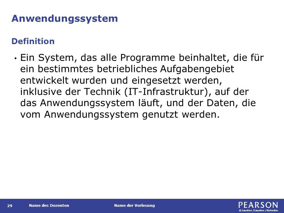 © Laudon /Laudon /Schoder Name des DozentenName der Vorlesung Anwendungssystem 29 Ein System, das alle Programme beinhaltet, die für ein bestimmtes be