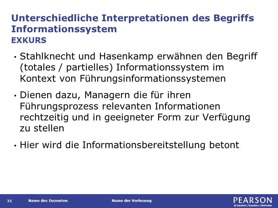 © Laudon /Laudon /Schoder Name des DozentenName der Vorlesung Unterschiedliche Interpretationen des Begriffs Informationssystem 31 Stahlknecht und Has