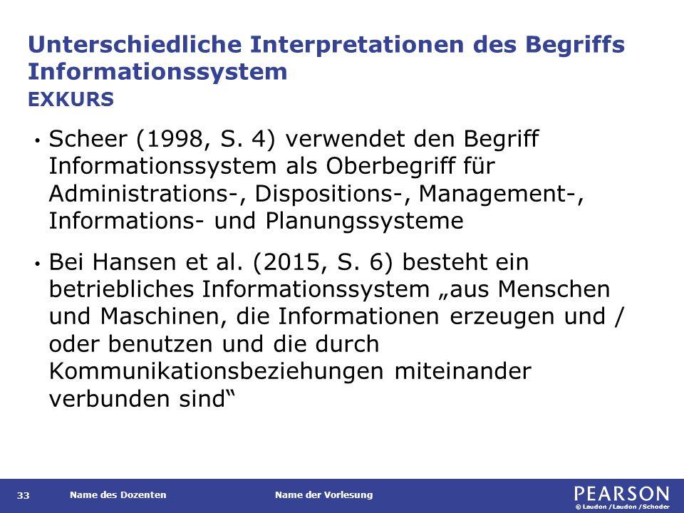 © Laudon /Laudon /Schoder Name des DozentenName der Vorlesung Unterschiedliche Interpretationen des Begriffs Informationssystem 33 Scheer (1998, S. 4)