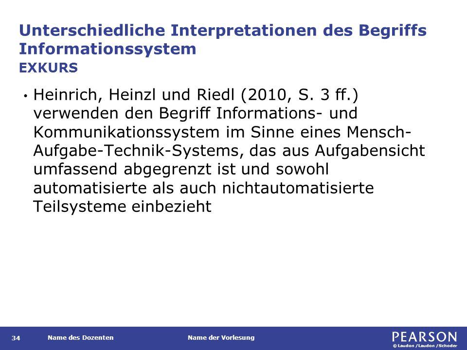© Laudon /Laudon /Schoder Name des DozentenName der Vorlesung Unterschiedliche Interpretationen des Begriffs Informationssystem 34 Heinrich, Heinzl un
