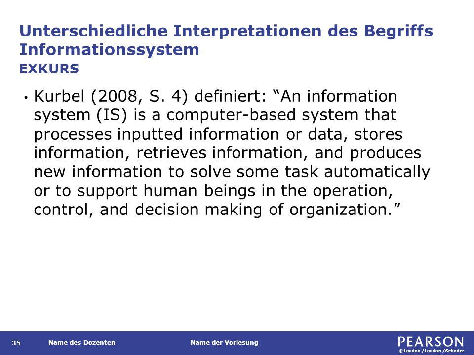 © Laudon /Laudon /Schoder Name des DozentenName der Vorlesung Unterschiedliche Interpretationen des Begriffs Informationssystem 35 Kurbel (2008, S. 4)