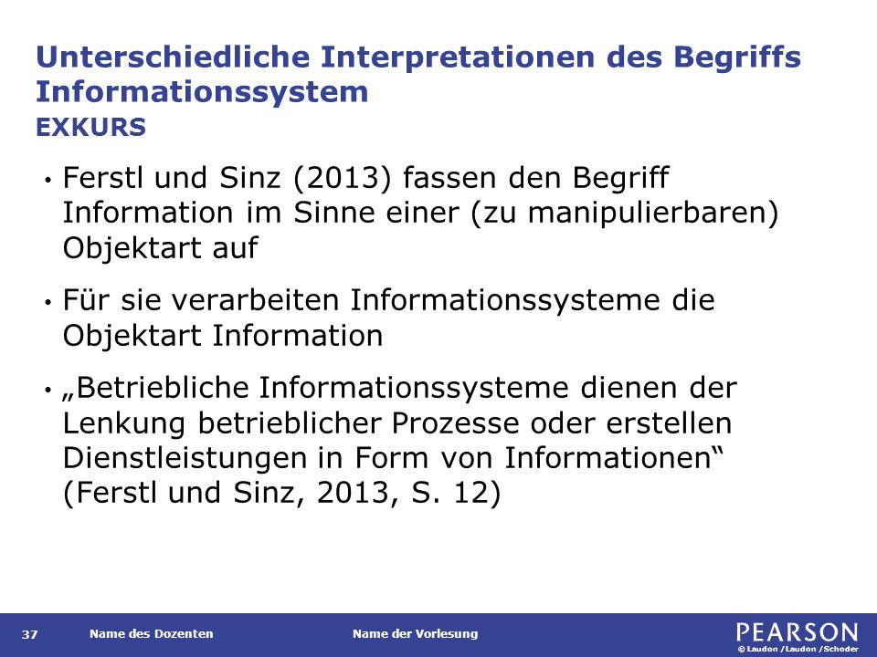 © Laudon /Laudon /Schoder Name des DozentenName der Vorlesung Unterschiedliche Interpretationen des Begriffs Informationssystem 37 Ferstl und Sinz (20