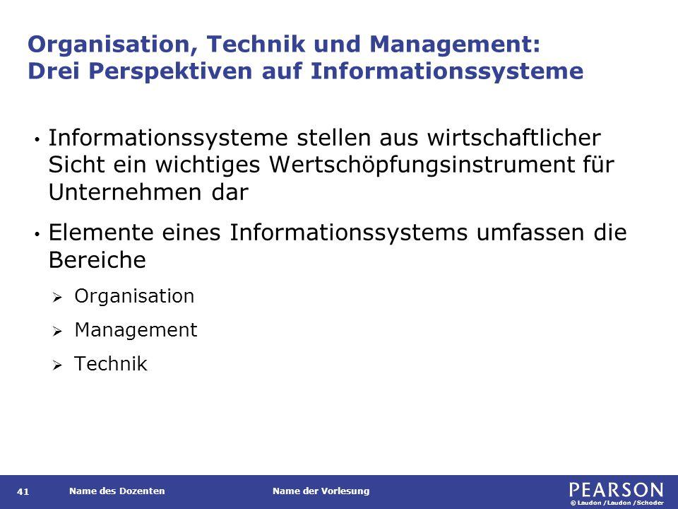 © Laudon /Laudon /Schoder Name des DozentenName der Vorlesung Organisation, Technik und Management: Drei Perspektiven auf Informationssysteme 41 Infor